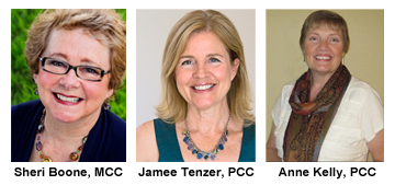 Sheri Boone MCC, Jamee Tenzer PCC and Anne Kelly PCC photos